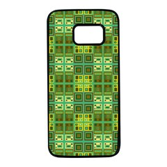 Mod Yellow Green Squares Pattern Samsung Galaxy S7 Black Seamless Case