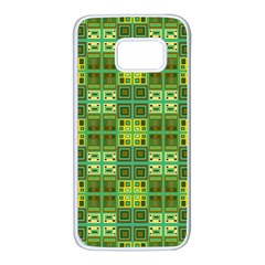 Mod Yellow Green Squares Pattern Samsung Galaxy S7 White Seamless Case