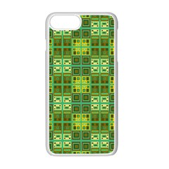 Mod Yellow Green Squares Pattern Apple Iphone 7 Plus Seamless Case (white)