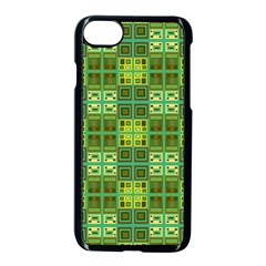 Mod Yellow Green Squares Pattern Apple Iphone 7 Seamless Case (black)