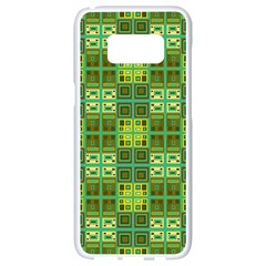 Mod Yellow Green Squares Pattern Samsung Galaxy S8 White Seamless Case
