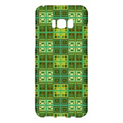 Mod Yellow Green Squares Pattern Samsung Galaxy S8 Plus Hardshell Case