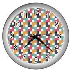 Background Abstract Geometric Wall Clock (silver)