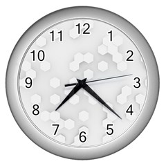 White Abstract Wall Paper Design Frame Wall Clock (silver)