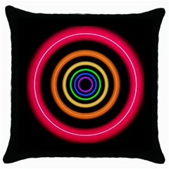 Neon Light Abstract Pattern Lines Throw Pillow Case (black) by Simbadda