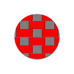 Black And White Red Patterns Magnet 3  (round) by Simbadda