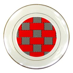 Black And White Red Patterns Porcelain Plates by Simbadda