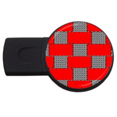 Black And White Red Patterns Usb Flash Drive Round (4 Gb) by Simbadda