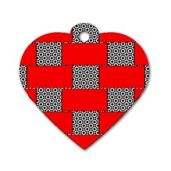 Black And White Red Patterns Dog Tag Heart (one Side)