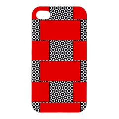 Black And White Red Patterns Apple Iphone 4/4s Premium Hardshell Case
