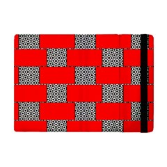 Black And White Red Patterns Apple Ipad Mini Flip Case by Simbadda