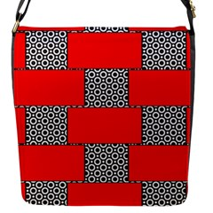 Black And White Red Patterns Flap Closure Messenger Bag (s)