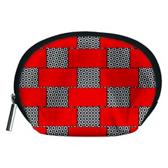 Black And White Red Patterns Accessory Pouch (medium)