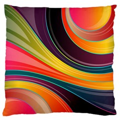 Abstract Colorful Background Wavy Large Cushion Case (one Side) by Simbadda