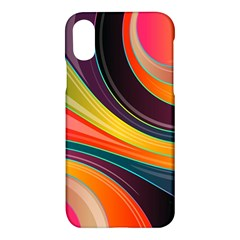 Abstract Colorful Background Wavy Apple Iphone X Hardshell Case by Simbadda