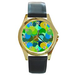 Green Aqua Teal Abstract Circles Round Gold Metal Watch by Simbadda