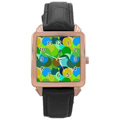 Green Aqua Teal Abstract Circles Rose Gold Leather Watch