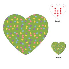 Balloon Grass Party Green Purple Playing Cards (heart) by Simbadda