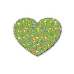 Balloon Grass Party Green Purple Heart Coaster (4 Pack)