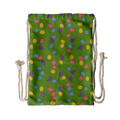 Balloon Grass Party Green Purple Drawstring Bag (small)