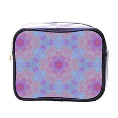 Pattern Pink Hexagon Flower Design Mini Toiletries Bag (one Side) by Simbadda