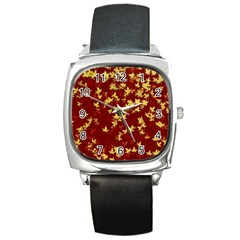 Background Design Leaves Pattern Square Metal Watch by Simbadda