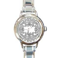 Grolier Antique Scroll Fruit Round Italian Charm Watch by Simbadda