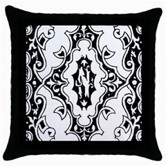 Holbein Floriated Antique Scroll Throw Pillow Case (black)