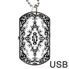 Holbein Floriated Antique Scroll Dog Tag Usb Flash (one Side) by Simbadda