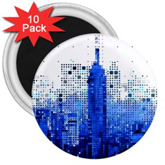 Skyline Skyscraper Abstract Points 3  Magnets (10 Pack)