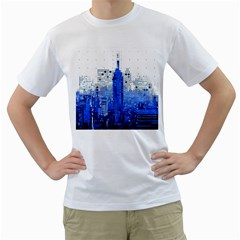 Skyline Skyscraper Abstract Points Men s T Shirt (white) (two Sided)