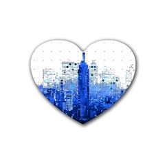 Skyline Skyscraper Abstract Points Heart Coaster (4 Pack)