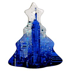 Skyline Skyscraper Abstract Points Christmas Tree Ornament (two Sides)