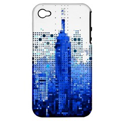 Skyline Skyscraper Abstract Points Apple Iphone 4/4s Hardshell Case (pc+silicone) by Simbadda