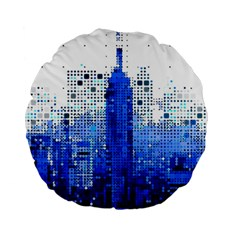 Skyline Skyscraper Abstract Points Standard 15  Premium Round Cushions by Simbadda