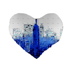 Skyline Skyscraper Abstract Points Standard 16  Premium Heart Shape Cushions
