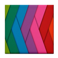 Abstract Background Colorful Strips Tile Coasters by Simbadda