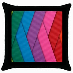 Abstract Background Colorful Strips Throw Pillow Case (black) by Simbadda