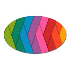Abstract Background Colorful Strips Oval Magnet by Simbadda