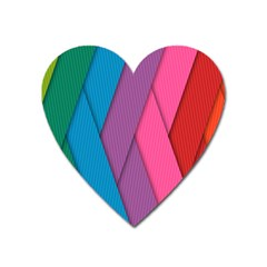 Abstract Background Colorful Strips Heart Magnet by Simbadda