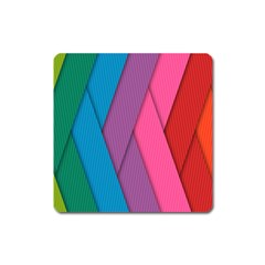 Abstract Background Colorful Strips Square Magnet by Simbadda