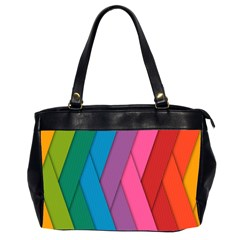Abstract Background Colorful Strips Oversize Office Handbag (2 Sides) by Simbadda