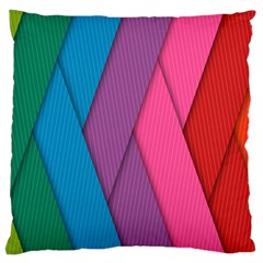 Abstract Background Colorful Strips Large Cushion Case (one Side) by Simbadda