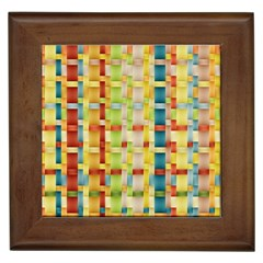 Woven Pattern Background Yellow Framed Tiles