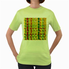 Woven Pattern Background Yellow Women s Green T Shirt