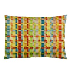 Woven Pattern Background Yellow Pillow Case by Simbadda