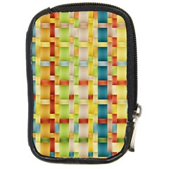Woven Pattern Background Yellow Compact Camera Leather Case by Simbadda