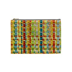 Woven Pattern Background Yellow Cosmetic Bag (medium)