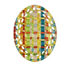 Woven Pattern Background Yellow Oval Filigree Ornament (two Sides) by Simbadda