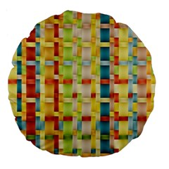 Woven Pattern Background Yellow Large 18  Premium Flano Round Cushions by Simbadda